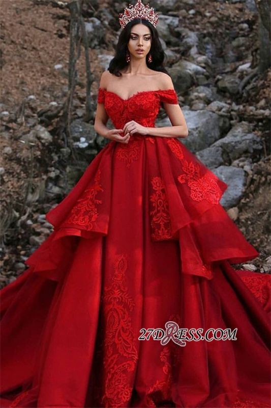 Red Ruffles Ball Gown Wedding Dresses | Off The Shoulder Lace Appliques Bridal Gowns BC0730