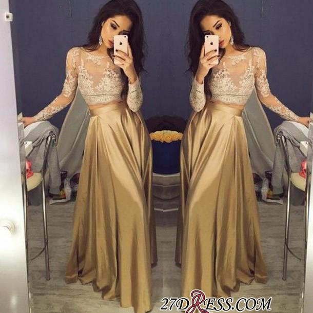 Two-Piece Long-Sleeve A-Line New Lace Sexy Prom Dresses BA3993