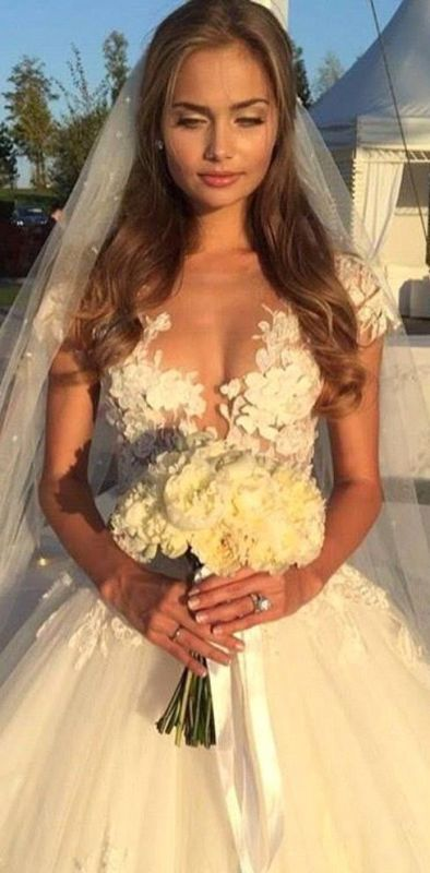 Glamorous Cal Sleeve Wedding Dress 2020 3D Floral Appliques Princess Bridal Gowns Tulle