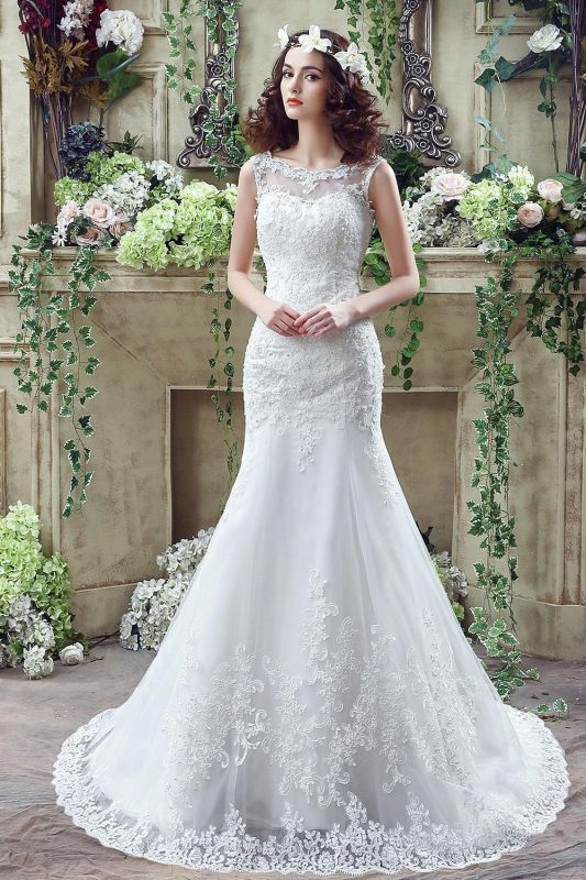 Timeless Mermaid Lace 2020 Wedding Dress Zipper Button Back Sweep Train