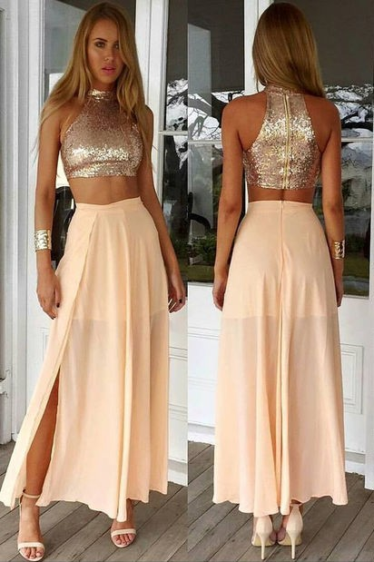 Newest Sequined Two Piece Prom Dress 2020 Front Split Floor-length BA3375