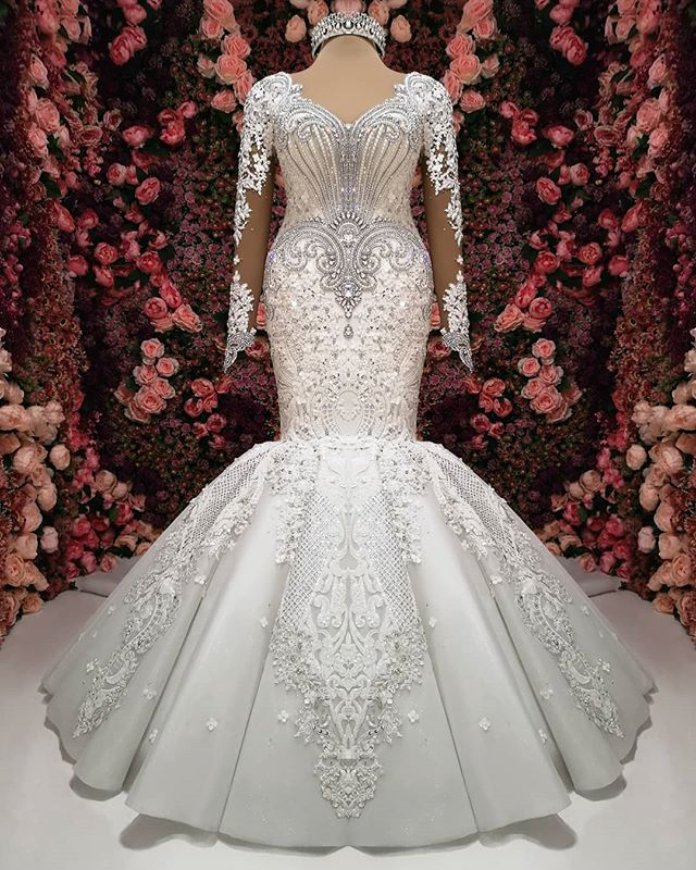 Gorgeous Crystals Lace Mermaid Wedding Dress   2020 Long Sleeve Bridal Gown BC0252