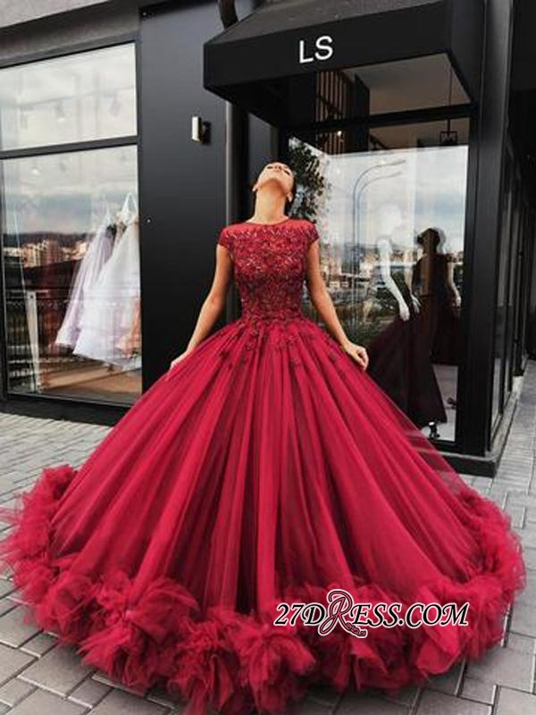 Short Sleeves Burgundy Prom Dresses | 2020 Ball Gowns Evening Dress With Lace BC0916