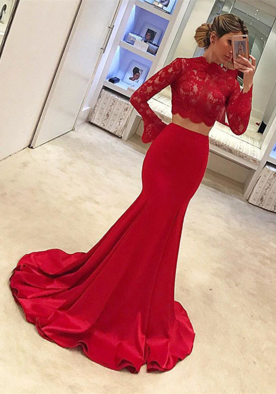 Gorgeous Lace Red Two piece Prom Dress Mermaid On Sale BC1618