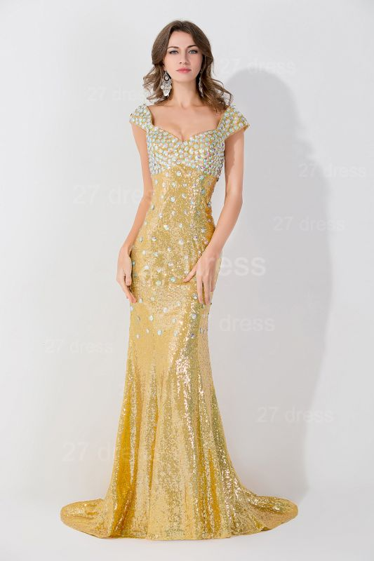 Glamorous Mermaid Sequins Crystals Evening Dress Sweep Train