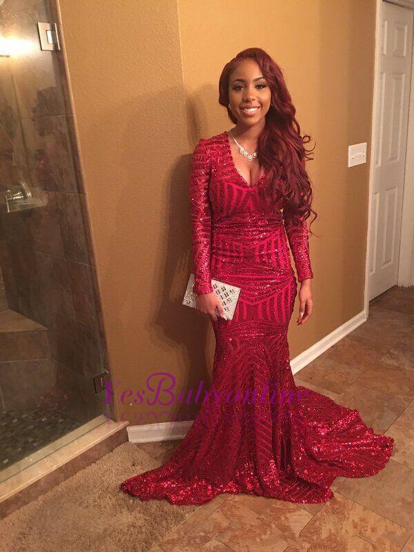 Sexy Red V-Neck Sequins Prom Dresses 2020 Long Sleeve Mermaid BK0