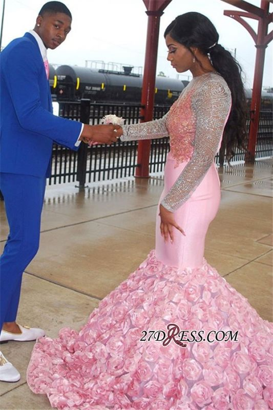 Pink Long-Sleeves Backless Mermaid Prom Dress | Glamorous Flower Appliques Evening Gown