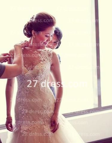 Beading Bridal High Neck Lace Wedding Dresses 2020 Sheer Backless Sleeveless Court Train Gowns