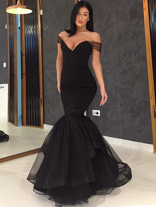 Glamorous Off-the-Shoulder Black Prom Dresses | 2020 Mermaid Tulle Evening Gowns