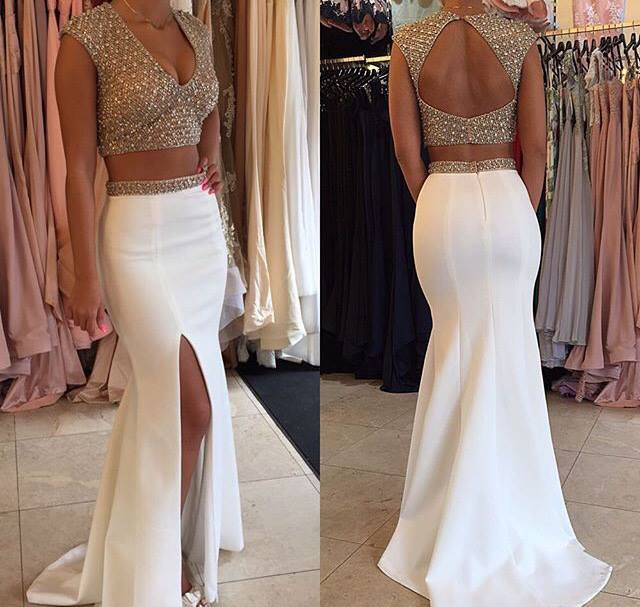 Glamorous Two Pieces Prom Dresses 2020 Beadings Cap Sleeve Long Party Gowns BA3117