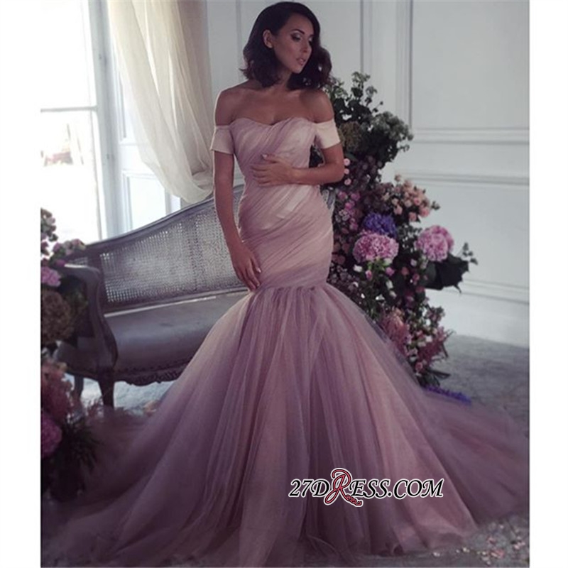 Ruffles Off-The-Shoulder Lalic Tulle Elegant Mermaid Evening Dress BA6947