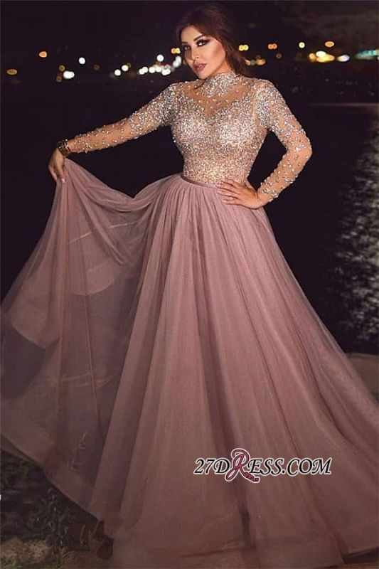 Long-sleeve Crystal Pink High-neck Beading A-line Prom Dress