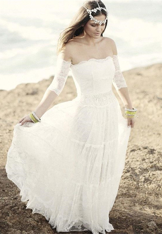 Romantic Tulle Lace Half Sleeve Wedding Dress 2020 Off-the-shoulder A-line