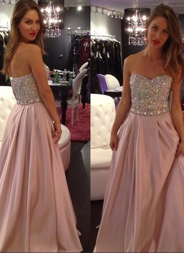 2020 A-line Elegant Sweetheart-Neck Crystals-Top Long Pink Prom Dresses