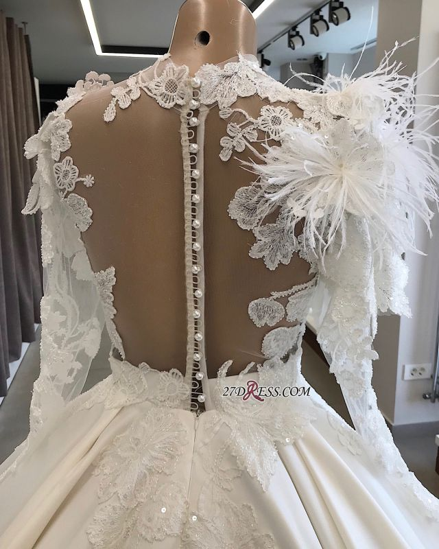 High-Neck Long-Sleeves Flowers Feather Appliques Brilliant Wedding Dresses