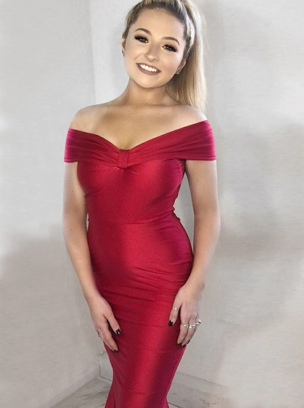 Charming Off-the-shoulder Red Prom Dress | Mermaid Long Evening Gowns With Zipper