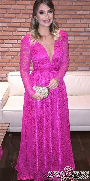 Lace Backless Natural Long-Sleeve Fuchsia V-Neck A-Line Evening Dresses