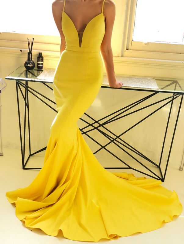 Bright Mermaid Sleeveless Spaghetti Strap Evening Dress | Yellow V-Neck Zipper Prom Gown On Sale BM0937