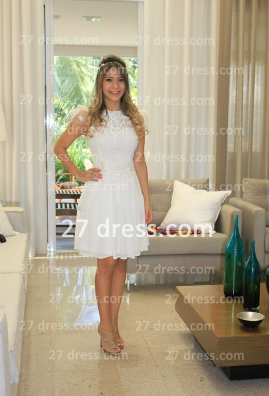 Prom De Short White Lace Cocktail Dress with New Arrival Elegant Gowns Vestidos Fiesta Sleeves