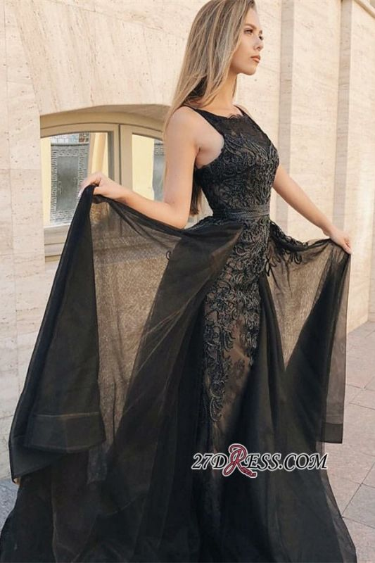 Elegant Black Over-Skirt Prom Dresses | Scoop Sleeveless Lace Appliques Evening Dresses