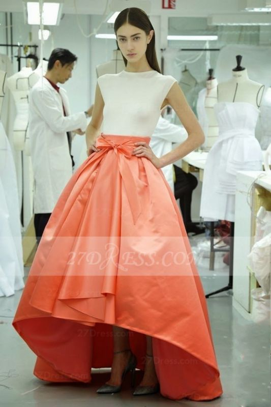 Hi-lo White Ball Gown Prom Dresses Evening 2020 Jewel Cap Sleeve Bow Sash and Orange Gowns