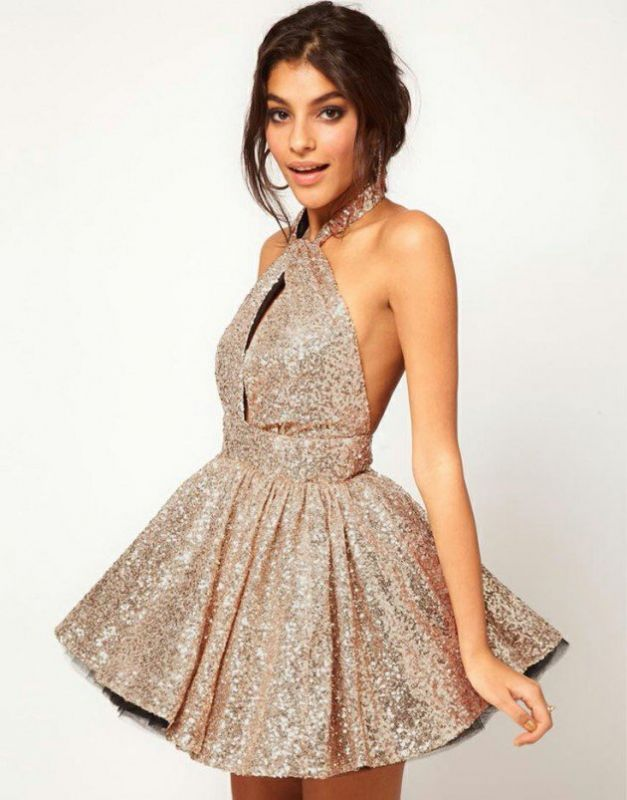 Glamorous Halter Sleeveless Short Cocktail Dress Open Back With Sequins