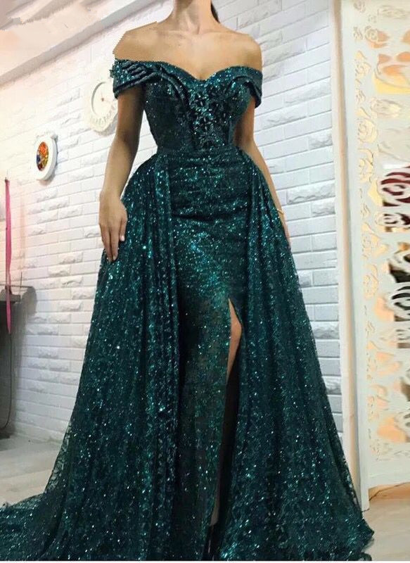 Gorgeous Green Bling Off-the-shoulder Evening Dress | Front Split Party Dress BC0427