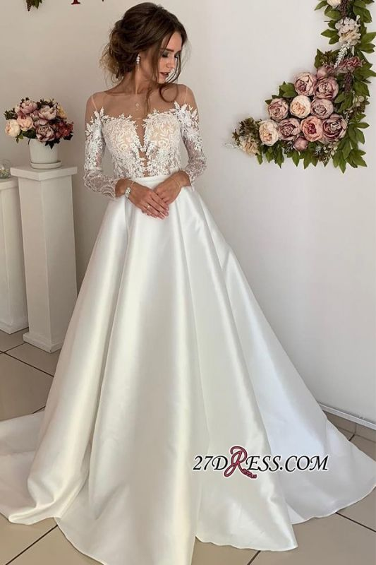 Floor-Length Lace Long-Sleeves Attractive A-line Wedding Dresses