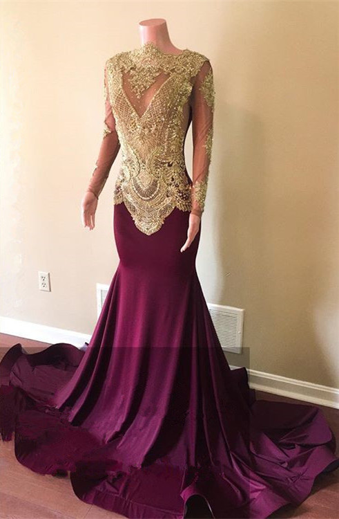 Gorgeous Long Sleeve Prom Dresses | 2020 Mermaid Gold Appliques Evening Gowns