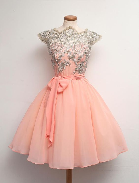 Peach Cap Sleeve Homecoming Dress 2020 Lace Appliques Short Chiffon Prom Dress BC2832