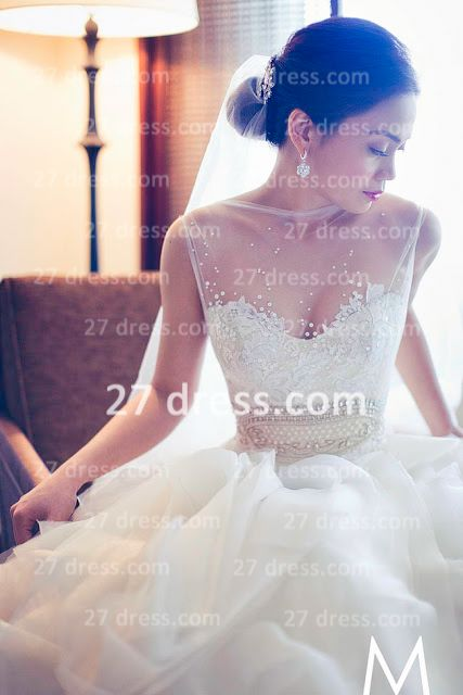 New Backless Sheer A-Line Wedding Dresses 2020 Bateau Beaded Appliques Ruffles Bridal Gowns With Court Train