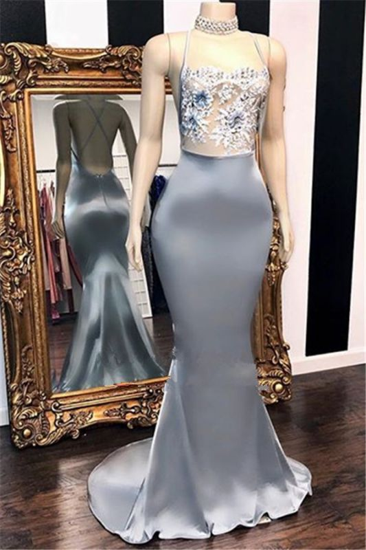 Glamorous Sleeveless 2020 Prom Dress   Mermaid Lace Appliques Evening Gowns BC1365