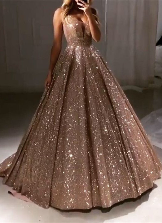 Glamorous Sleeveless Sequins 2020 Prom Dresses | Princess Long Evening Gowns On Sale BC0412