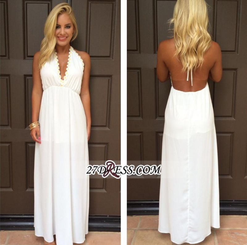 Backless White Maxi Attractive Halter V-Neck Summer Prom Dresses