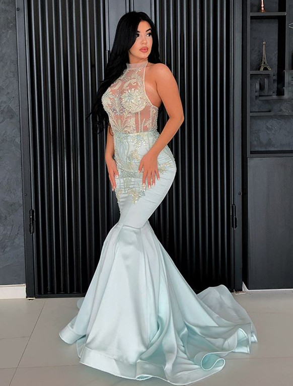 Chic Halter Mermaid Prom Dresses | 2020 Lace Appliques Long Evening Gowns BC1192