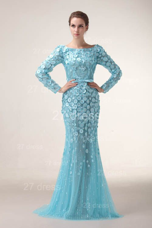 Bateau Long Sleeves Evening Dresses 2020 Mermaid Sequined prom Gowns