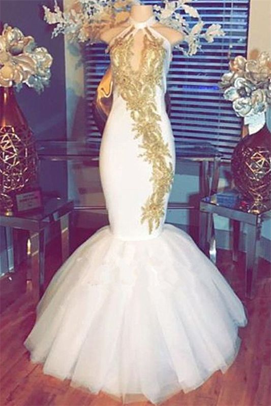 White Mermaid Prom Dress | 2020 Halter Evening Gowns With Gold Appliques BA8790