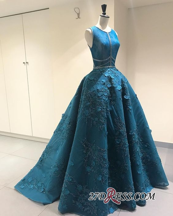 Blue Sleeveless Prom Dress | 2020 Princess Evening Gowns With Lace Appliques BA9500