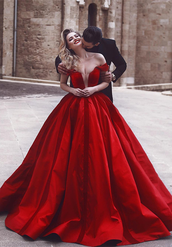 Glamorous Off-the-Shoulder Evening Dress | 2020 Red Long Prom Dress