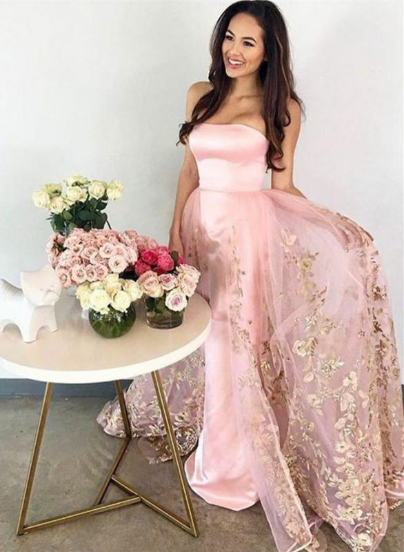 Sexy Pink Strapless Prom Dress | Long Lace Appliques Evening Gowns on Sale
