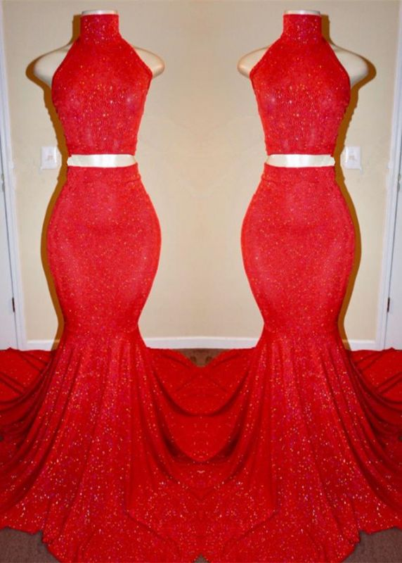 Sexy Red Two Pieces Prom Dresses | 2020 Mermaid Long Evening Gowns