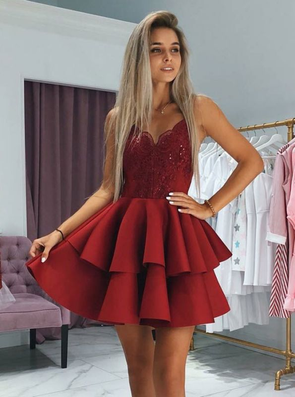 Elegant V-Neck Lace Homecoming Dresses | 2020 Layers Red Mini Party Gowns BC0002