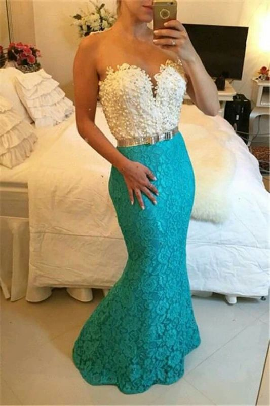 Delicate Lace Mermaid Beads Evening Dress | Sweetheart Evening Gown BT0