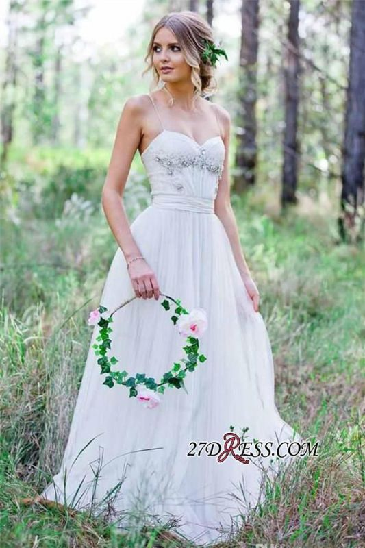 2020 Beadings A-Line Simple Cheap Spaghetti-Straps Tulle Wedding Dress