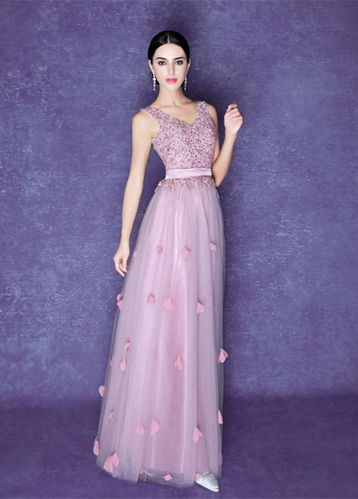 Romantic Flowers A-line Straps 2020 Prom Dress Beadings Tulle Floor-length BA5071