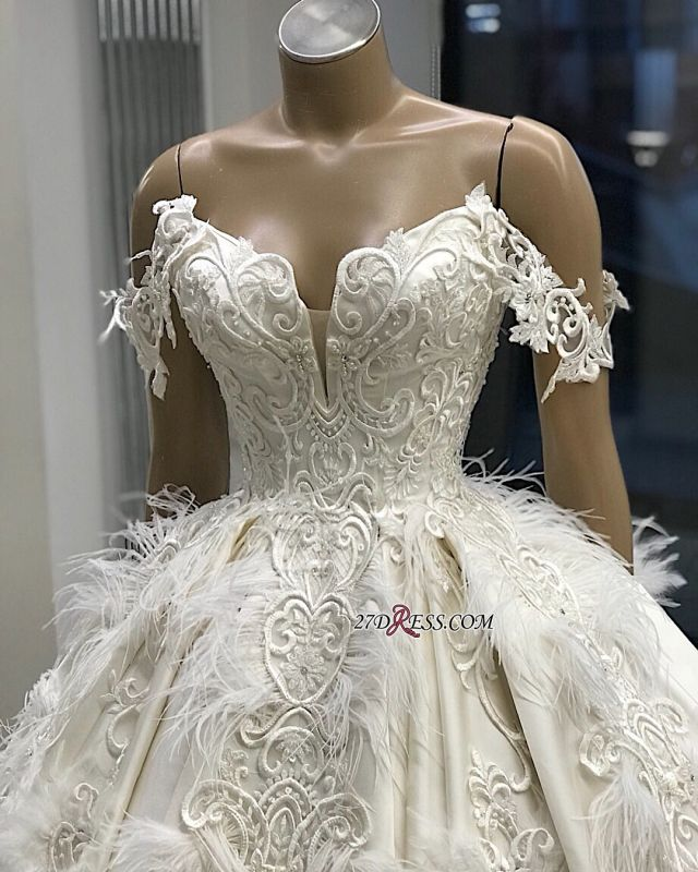 Off-the-shoulder Appliques Satin Ball-Gown Feathers Amazing Wedding Dresses