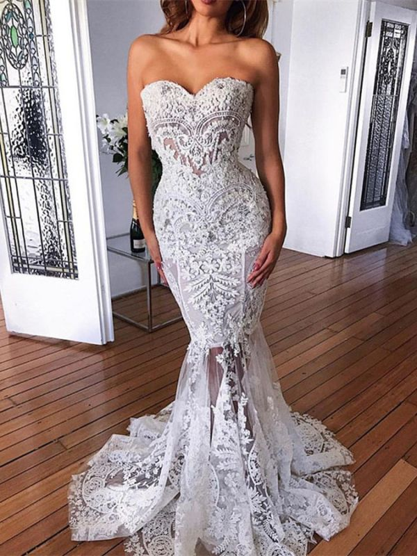 Gorgeous Sweetheart Sleeveless Wedding Dress | Lace Appliques Mermaid Bridal Gowns On Sale BC3996