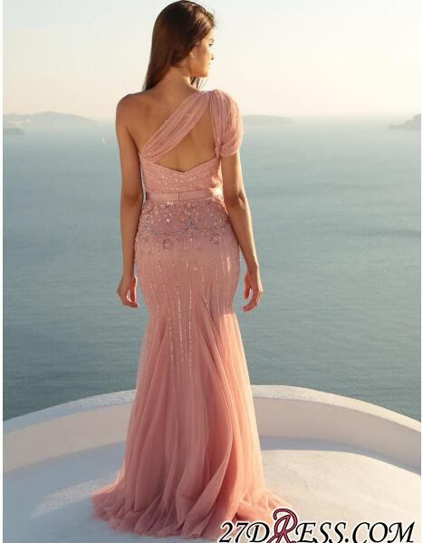 Modest One-Shoulder Mermaid Long Beads Sleeveless Prom Dress SP0287