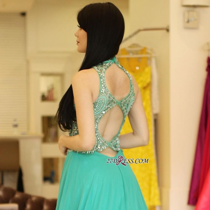 Long chiffon prom dress, eveing dress with crystal