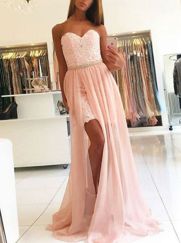 Glamorous Sweetheart Sleeveless Prom Dress | Lace Tulle Evening Gowns With Split